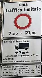 Verkeersbord italië autovrije zone