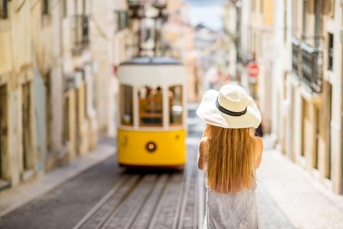 Toerist in Lissabon, Portugal