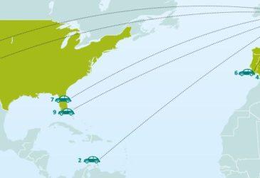 Top 10 bestemmingen autohuur voor zomer 2013